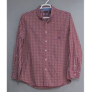 Chaps Easy Care Burgundy White Check Shirt Size L